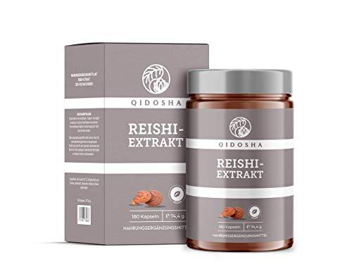 QIDOSHA Reishi Extrakt Kapseln, hochdosiert 500mg Reishi Extrakt pro Kapsel, Premium Reishi Pilz, vegan, laborgeprüft, 180 Kapseln im Glas