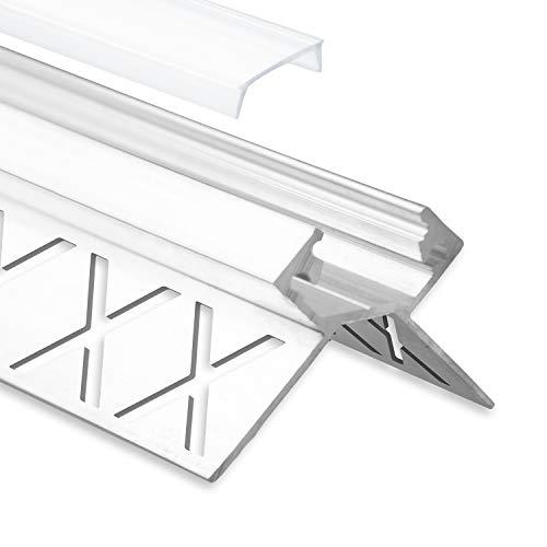 LED Aluminium Fliesenprofil Außeneck F5 Salph 2 Meter inkl. Abdeckung Opal (milchige Abdeckung) LED Fliesenprofil 2m LED Alu Profil Fliesen Außeneck