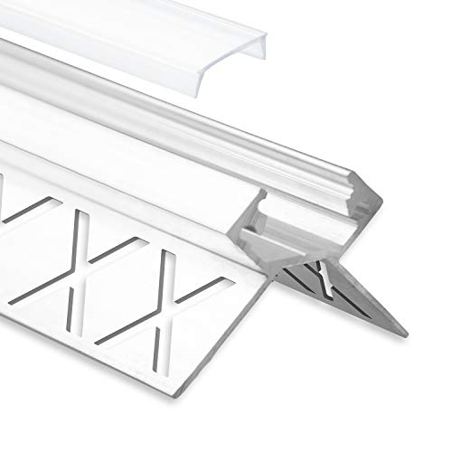 LED aluminium tegelprofiel buitenhoek F5 Salph 2 meter incl. afdekking opaal/helder LED tegelprofiel 2m LED aluminium profiel tegels