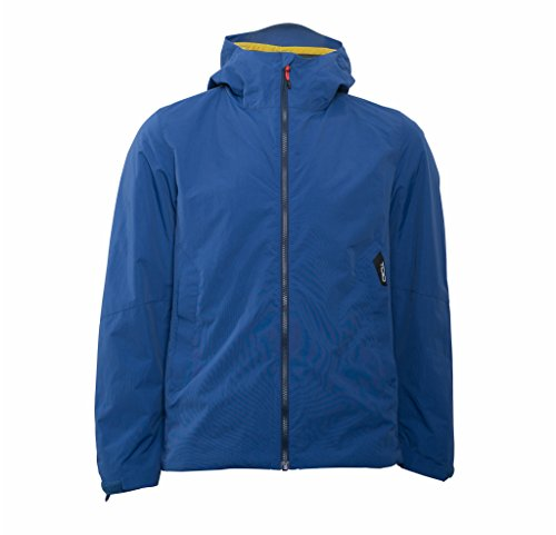 TOIO Mens Team Hooded Jacket Windproof and Water Resistant Blue Montecarlo Reflective Insert at Outside Back Collar 100% Nylon Small