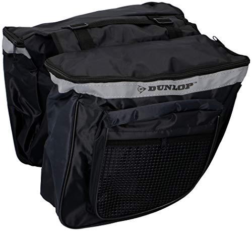Dunlop Fietstas, dubbele zadeltas, bagagedrager, weerbestendig, met reflectoren, zwart zijnet, zwart