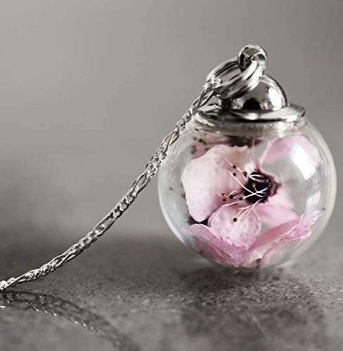 Kette Anhänger Sakura Kirschblüte Rosa - Silber 925 Sterling - Blumen Halskette mit Geschenkbox