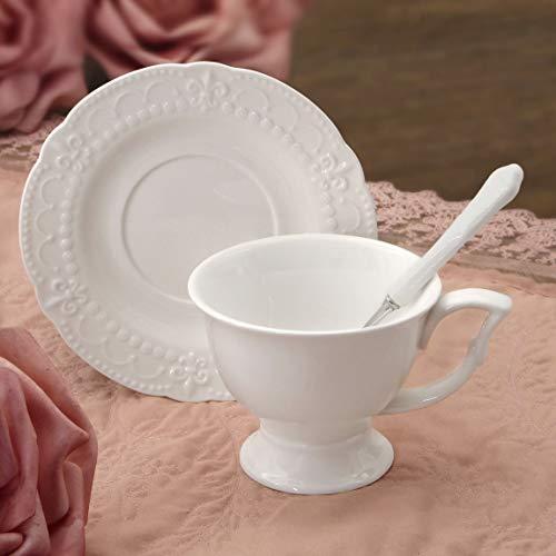 6er Set Kaffeetasse Teetasse Tasse und Untertasse Landhaus Shabby Chic - Blumenmuster Geprägt - Weiß - Porzellan
