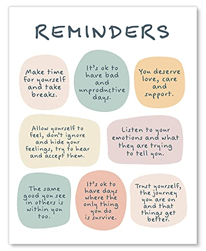 Mental Health Reminders Wall Art Print - CBT Positive Psychology Affirmations Feelings Poster - Mindfulness Posters & Decor for Home Classroom or Office - 8x10 - Unframed