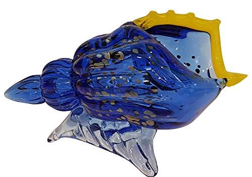 Oberstdorfer Glashütte Coquille de Verre Colore Vase en Cristal Souffle a la Bouche dans Les Couleurs Bleu Jaune Argent Moderne Vase de Table Objet de Decoration Longueur env. 20 cm conçu et fabriqué
