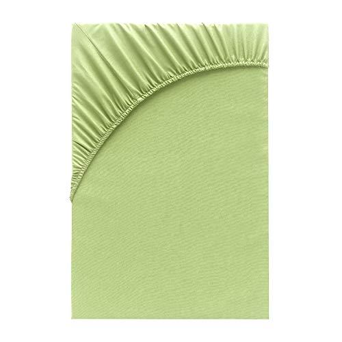 Class Home Collection Jersey Topper Wasserbett Boxpringbett Spannbetttuch Spannbettlaken Bettlaken Laken 100% Baumwolle Öko-Tex Standard 100 (180x200 cm - 200x200 cm Topper, Apfelgrün)