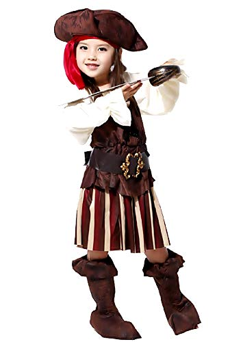Disfraz de pirata - disfraz - carnaval - halloween - corsario de los mares - caribe - color marrn - nia - talla l - 5/6 aos - idea de regalo para cumpleaos