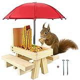 GLRGBHT Mangeoire à écureuil pour L'extérieur -Table de Pique-Nique en Bois Amusante avec Parapluie Multifonctionnel Accrocher Le Cadeau de Conteneur de Noix de Maïs pour Les Amoureux des écureuils
