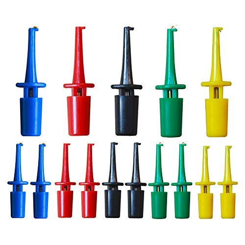 Senven 15 pezzi Mini gancio di prova multimetro, rosso × 3 blu × 3 nero × 3 giallo × 3 verde × 3 per strumenti di riparazione, test gancio grabber, clip gancio ic, test probe hook - 5 colori.