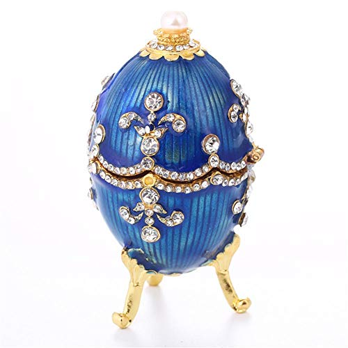 Schmuckschatulle Faberge Egg Style, Osterei Form Schmuckstück Aufbewahrungsbox, Home Decor Ostern Ornament Box Sammlerstücke Geschenke für Lady Girl Mother, Ostern Schmuck Display
