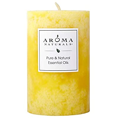Aroma Naturals Essential Oil Orange and Lemongrass Scented Pillar Candle, Ambiance, 2.5 inch x 4 inch from The Natural HBC Group, LLC (d/b/a Aroma Naturals)