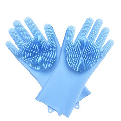 FANGCOOL Cuisine Gants De Vaisselle Mince Multifonctionnel Silicone Brosse À Vaisselle Isolant Imperméable Antiadhésif Bleu Huile 1 Paire