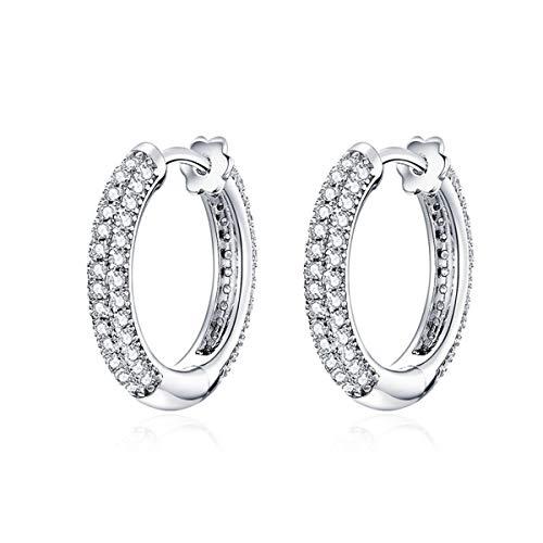 BAMOER Ear Hoops 925 Sterling Silver Luxury Hoop Earrings for Women Wedding Engagement Jewelry Gifts Accessories