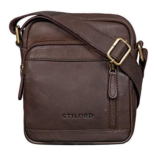 STILORD 'Zac' Bolso Pequeño Hombres de Cuero Marrón Bolso Mensajero Vintage Bolsa de Hombro o Bandolera para Tablet de 8.4' Auténtico Piel, Color:marrón Oscuro - Opaco