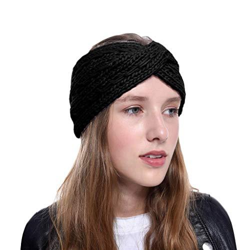 Fenverk Damen Elastische StirnbäNder Frauen Baumwolle Gestrickte Verdrehte Weiche Turban-Kopf-Verpackungs Stirnband Verknotet Elastisches HaarbäNder Bands StirnbäNderfüR(B Schwarz)