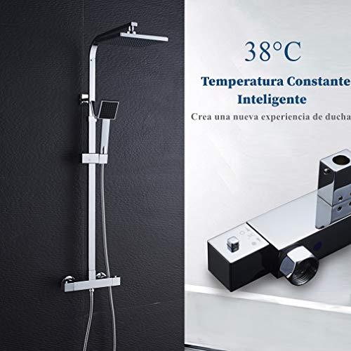 AuraLum Conjunto de Ducha Termostatico - Set de Ducha con Mezclador Termostática, Rociador Ducha Lluvia 20x20cm, Mano de Ducha (Latón Cromado)