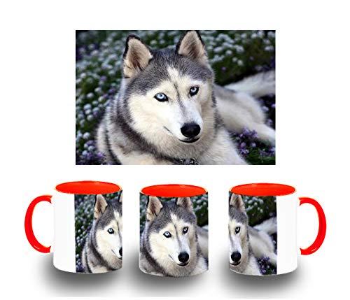 MERCHANDMANIA Taza ROJA Perro Husky Siberiano Muy Mono Color mug