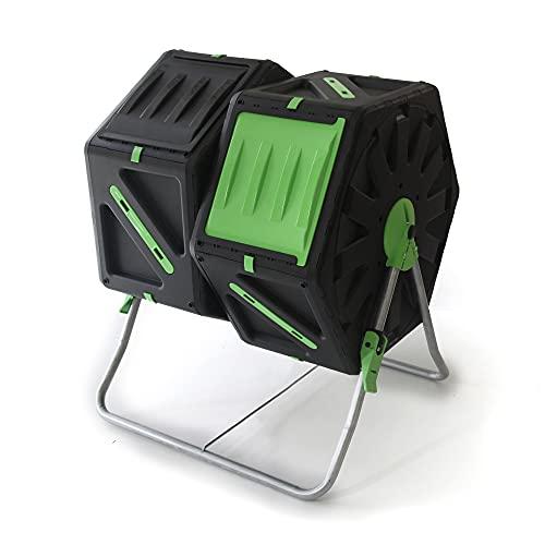 UPP Trommel-Komposter 2 Kammern je 70L | Schnellkomposter,Composter für Bio- und Garten-Abfälle | Gartenkomposter inkl. interne Belüftung-beschleunigt Herstellung von Kompost,Bio-Dünger | schwarz-grün