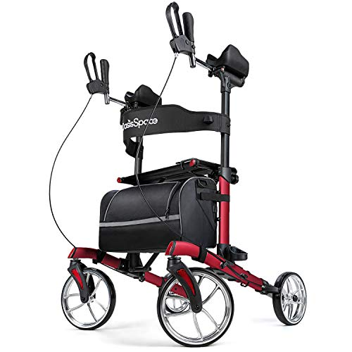 "OasisSpace Upright Rollator Walker - Tall Walker with 10"" Front Wheels Stand Up Walker with Backrest and Pad Armrest for Senior (Red)"