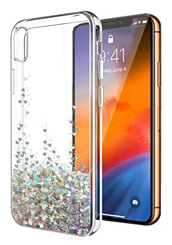 iPhone XR Case,iPhone XR Glitter Case for Women Girls,SunStory Moving Shiny Quicksand Glitter and Double Protection with PC Layer and TPU Bumper Case for Apple iPhone XR(6.1') (Silver)