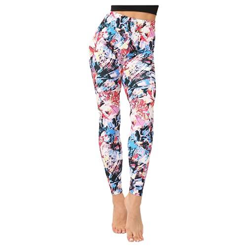 QTJY Pantalones de Yoga clásicos Retro Florales de Cintura Alta para Mujer, Mallas Deportivas para Correr, Pantalones elásticos de Secado rápido B XL
