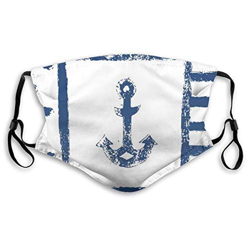 HARXISE Gesichtsbedeckung,Grunge Murk Boat Anchor Silhouette mit Polka und Streifen Retro Muster Vintage Navy Theme,Unisex Wiederverwendbar Winddicht Staubschutz Mund Bandanas Outdoor Mit 2 Filtern