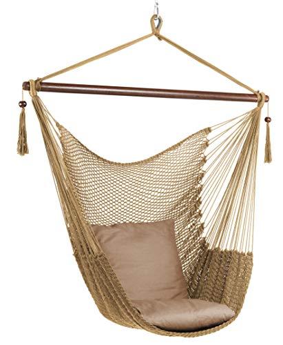 Hängesessel mit Deckenhaken und 2 Kissen XL Hängestuhl für Erwachsene & Kinder -Belastbar bis 120 kg - Hängesitz Indoor und Outdoor Wohn & Kinderzimmer, Garten (Braun)