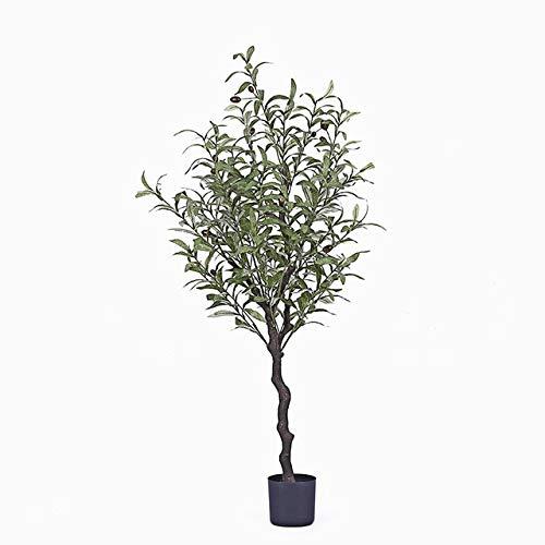 GETSO Nordic in künstlichen Olivenbaum gefälschten Baum Grün Bonsai Raumdekoration lebt Innen-Topfpflanzen gefälschte Pflanzen mit Topf: 120cm mit schwarzem Topf