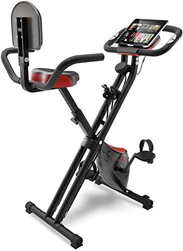 Sportstech Bicicleta Estática con Pantalla LCD y Sistema de Correa de Tracción -Marca Alemana de Calidad- Bici Estática con Asiento Cómodo y Sensores de Pulso - Bicicleta Plegable para Casa - X100-B