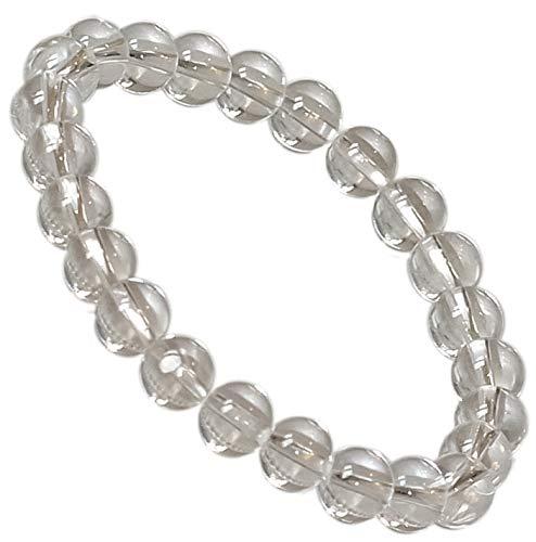 Kaltner Präsente Geschenkidee - Power Armband mit Perlen aus dem Edelstein Bergkristall (Stretch Band)
