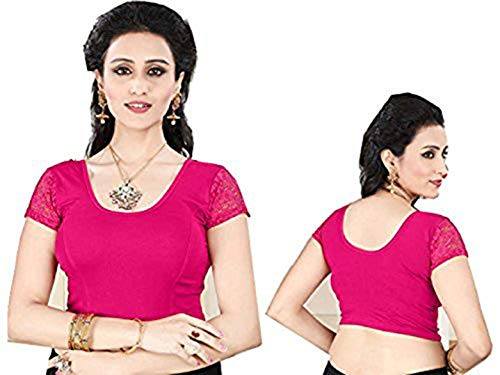 Indianstore24 Fertige, Free Size Saree Blouse, Blusen, Bollywood, Sari, Goa, Indien, Hochzeit, Kleid, Oberteil, Party,101 (Pink)