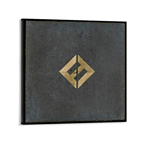 YOSON Foo Fighters Concrete and Gold Wall Art Decor Canvas Painting Poster Print Canvas Art Pictures for Room Home Decor Frame-style112x12inch(30x30cm)