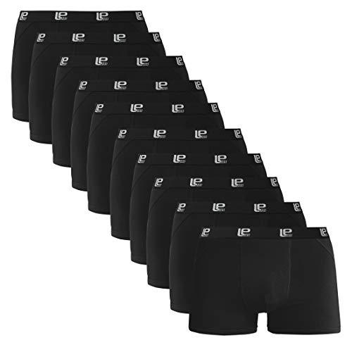 Lower East Herren Retro-Boxershorts, Schwarz (10er Pack), XL
