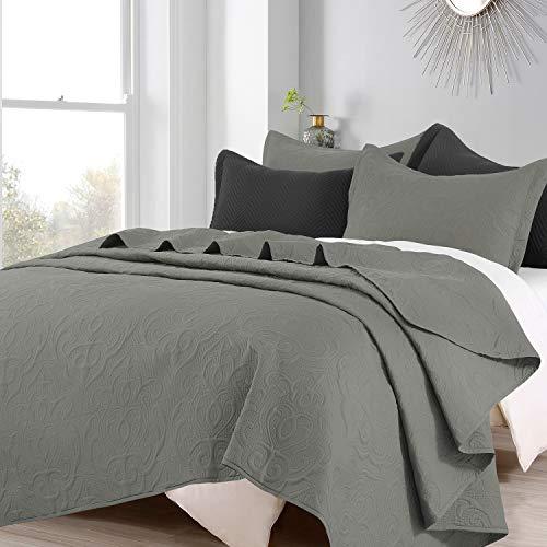"BEDELITE Twin Quilt Set Lightweight Spring & Summer Bedspread, Super Soft Microfiber Coverlet, Modern Damask Pattern Grey Quilts for Adults, Teens & Kids - 2 Pieces (1 Quilt 68"" x 86"", 1 Pillow Sham)"