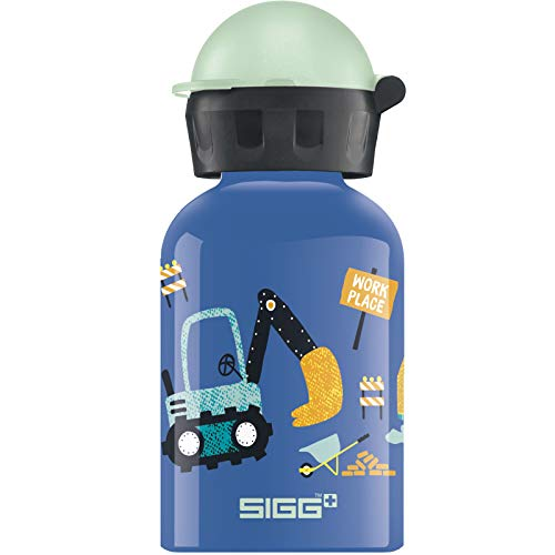 SIGG Build it Kinder Trinkflasche (0.3 L), schadstofffreie Kinderflasche mit auslaufsicherem Deckel, federleichte Trinkflasche aus Aluminium