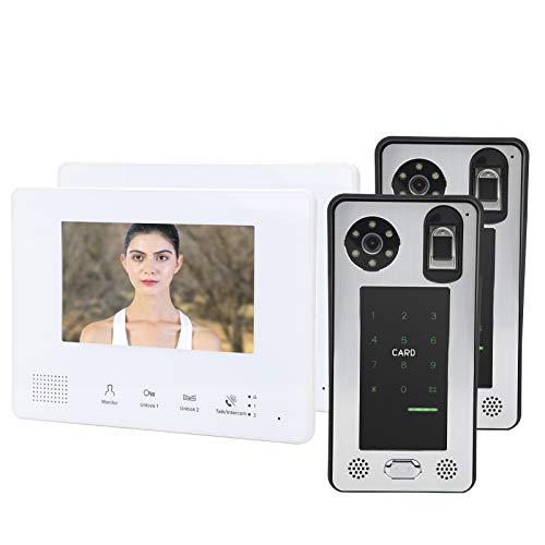 Mxzzand Sistema de Control de Acceso del Sistema de intercomunicación con Timbre de Video con 7 Pulgadas 2 monitores 2 cámaras