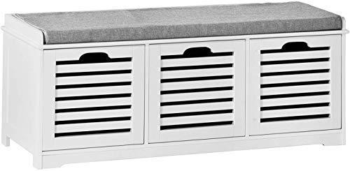 SoBuy® FSR23-W,IT - Banco zapatero para la entrada, con cojín y cestas, de color blanco