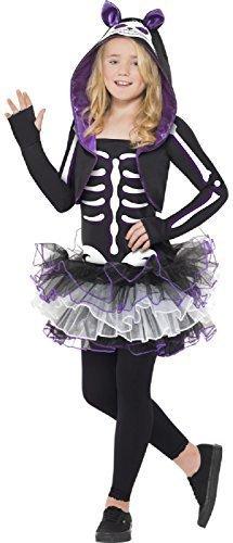Fancy Me Mädchen Teenager Skelett schwarz Katze Tutu Kleid mit Kapuze Schulterjacke Halloween Kostüm 10-14 Jahre - Schwarz, 10-12 Years