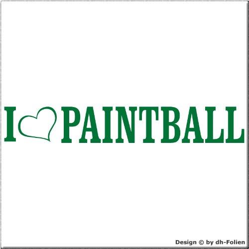 cartattoo4you AL-00872 | I Love (als Herz) Paintball | Autoaufkleber Aufkleber Farbe grün, in 23 weiteren Farben erhältlich, glänzend 20 x 3 cm Waschstrassenfest, Motiv Copyright by dh-Folien