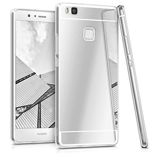 kwmobile Funda Compatible con Huawei P9 Lite - Carcasa Protectora Trasera de TPU para móvil en Plateado con Efecto Espejo