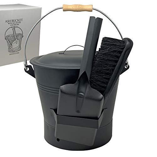 Coal and Ash Bucket with Shovel and Hand Broom