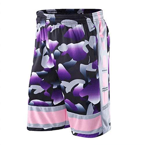 CKY - Pantalones cortos de baloncesto para hombre de malla transpirable de secado rápido para correr, gimnasio, entrenamiento, pantalones cortos sueltos morado XXL