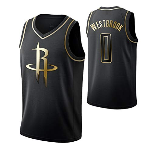 HS-XP Mens Baloncesto Jersey, Rockets Nº 0 Westbrook Classic Gold Edition Negro Jersey Transpirable De Secado Rápido Ropa Baloncesto Deportes Camiseta,XXXL(190~195cm)