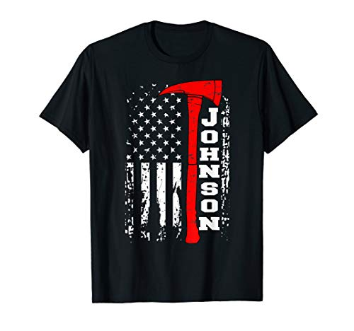 Johnson Firefighter Shirt Surname Johnson Family Gift T-Shirt