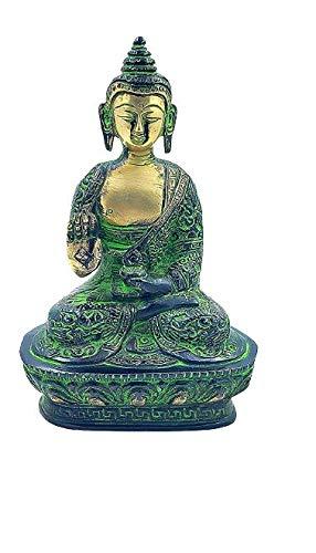 Antique Brass Buddha Statue Gautam Buddha Idol Sculpture,Worship Indoor Home Room Office Meditation Decor Gift Yoga Tibetan Buddhism Amitabha Figurine Dark Green Bronze Size -7 inch