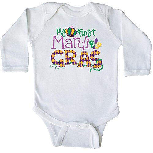 inktastic My First Mardi Gras Long Sleeve Creeper Newborn White 20ba1
