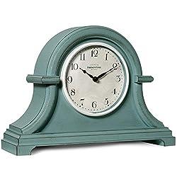 PresenTime & Co Vintage Farmhouse Table Clock Series Napoleon Mantel Clock,13 x 10 inch, Domed Lens, Quartz Movement, Aged Teal Color