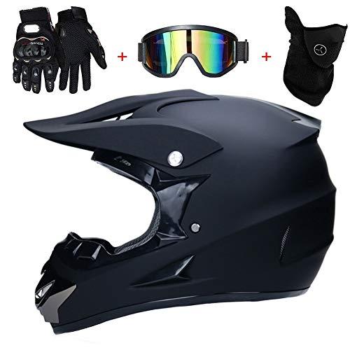AMITD Motocross BMX Helm Matt Schwarz Motorrad Crosshelm Enduro MTB Helm Fullface Fahrrad Helm Cross Helm Motorradhelm Set mit Brille Handschuhe Maske, A, M