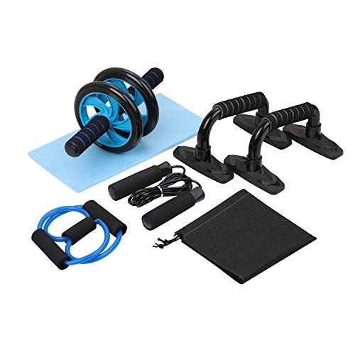 TOMSHOO Ab Roller Wheel for Abdominal Exercise, 5-in-1 Ab Wheel Roller Set with Push-UP Bar, Jump Rope and Knee Pad,Perfect Home Gym Workout Equipment for Home Workouts-Muscle Fitness Training