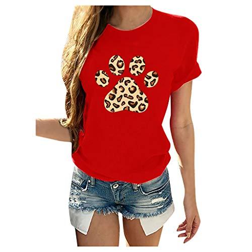 CixNy Damen Kurzarm O-Ausschnitt Pfotenabdruck Casual Tops Pullover Bluse T-Shirt (rot, XXXL)